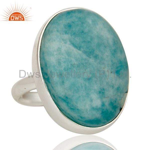Exporter Natural Amazonite and Solid Sterling Silver Handmade Bezel Set Ring