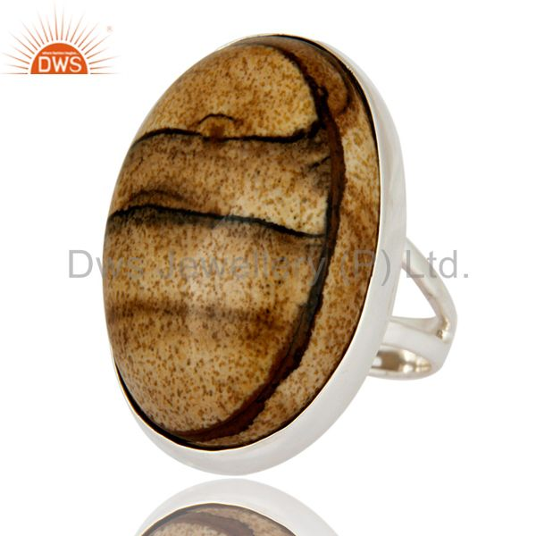 Exporter Natural Picture Jasper Gemstone Solid 925 Sterling Silver Artisan Ring