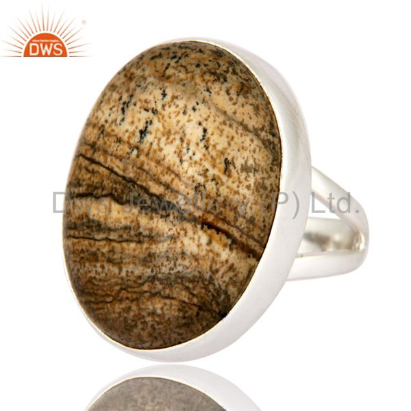 Exporter Artisan Handcrafted Solid 925 Sterling Silver Ring With Natural Picture Jasper