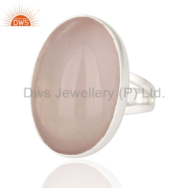Exporter Artisan Handcrafted Genuine Sterling Silver Ring With Natural Rose Quartz