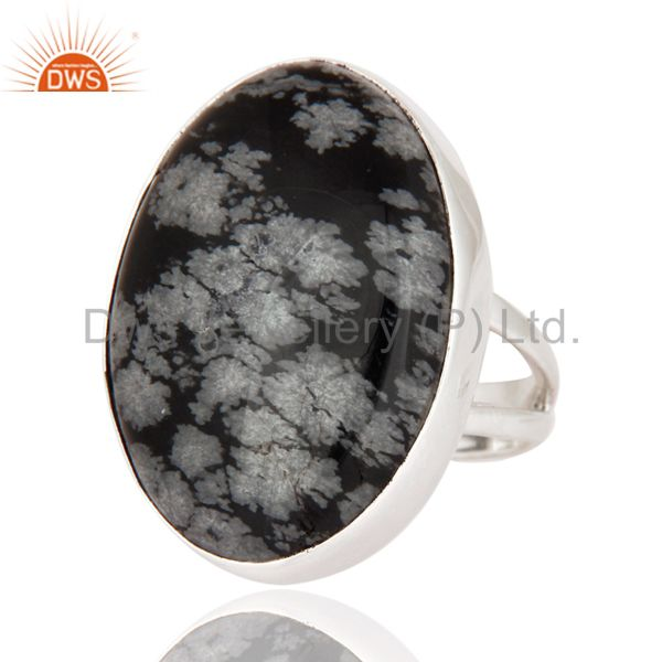 Exporter Unique Handmade 925 Sterling Silver Ring With Natural Black Obsidian Gemstone