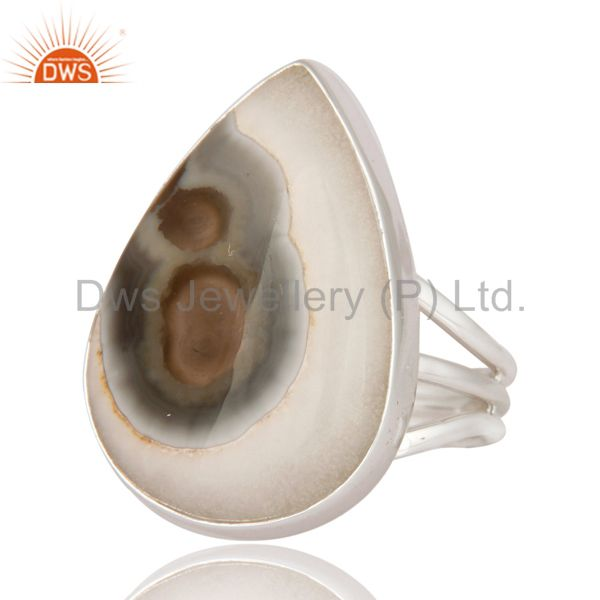 Exporter Handmade Solid 925 Sterling Silver Jewelry Ring With Natural Solar Quartz