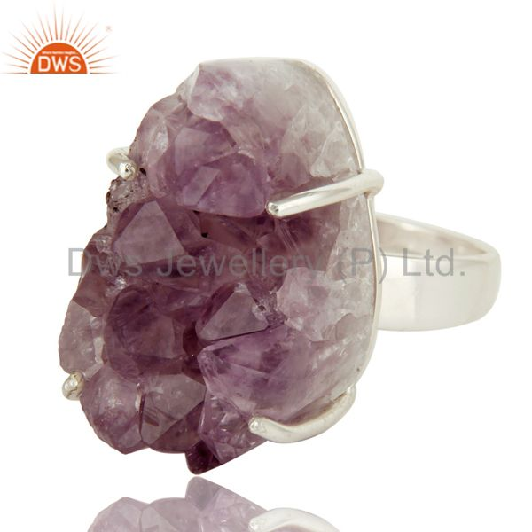 Exporter Handmade Solid Sterling Silver Natural Amethyst Geode Druzy Prong Set Ring