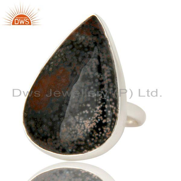 Exporter Handmade 925 Sterling Silver Ocean Jasper Gemstone Bezel Set Cocktail Ring