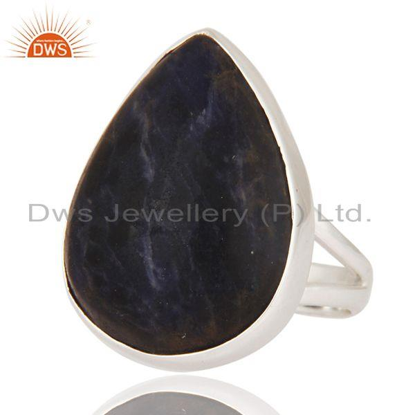 Exporter Natural Sodalite Gemstone Ring Handcrafted 925 Sterling Silver Jewelry