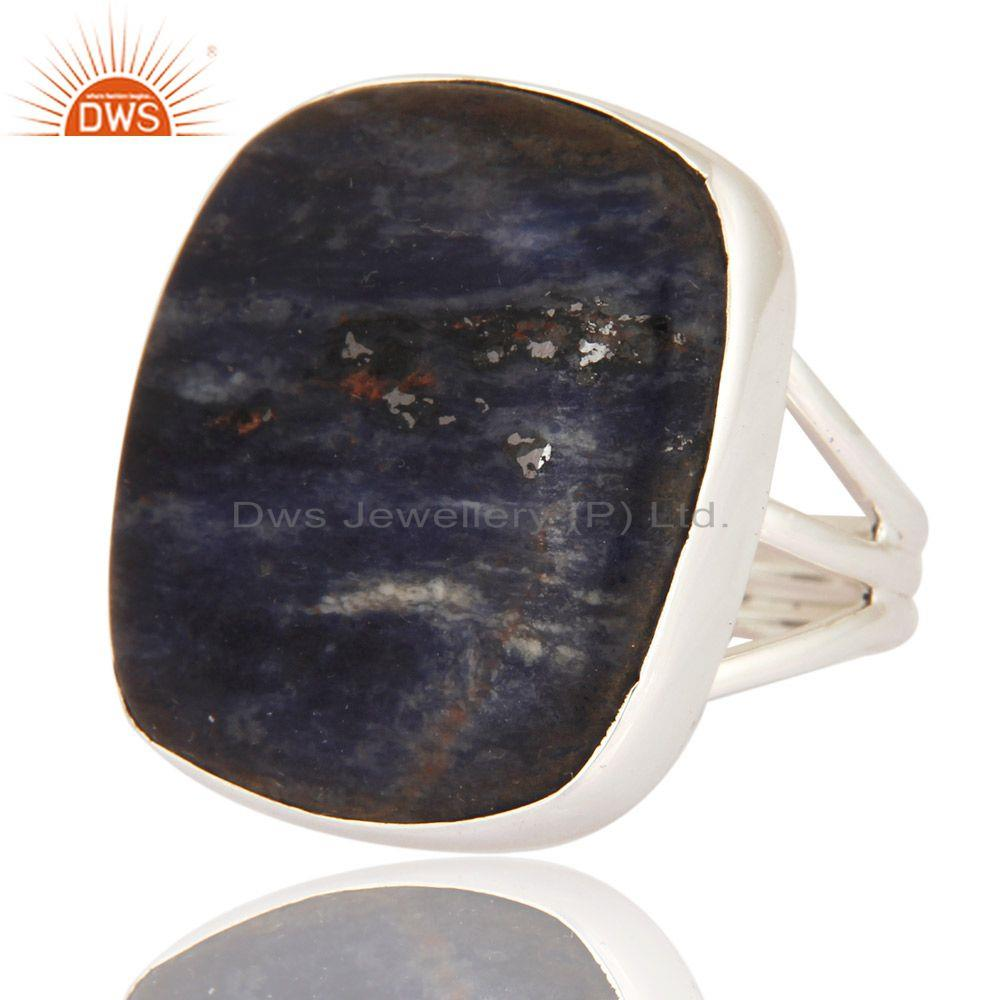 Exporter Natural Sodalite Gemstone Solid 925 Sterling Silver Ring Handmade Jewelry
