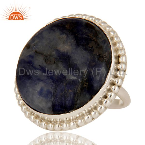 Exporter Handmade Sodalite Gemstone Cocktail Ring Made In Solid Sterling Silver