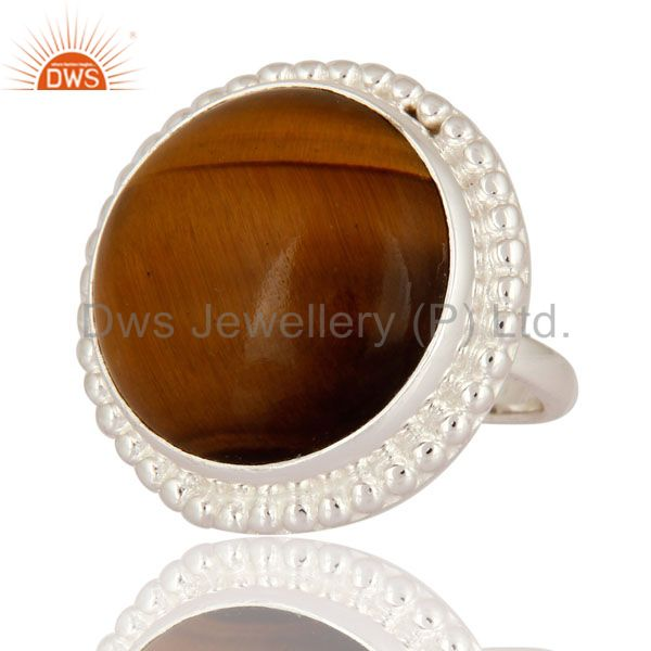 Exporter Solid 925 Sterling Silver Natural Tigers Eye Gemstone Beautiful Ring