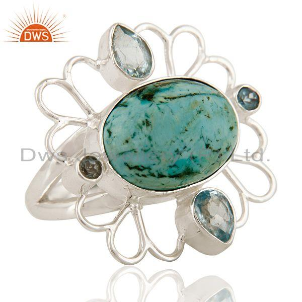 Exporter Handmade Turquoise And Blue Topaz Ring In Solid Sterling Silver