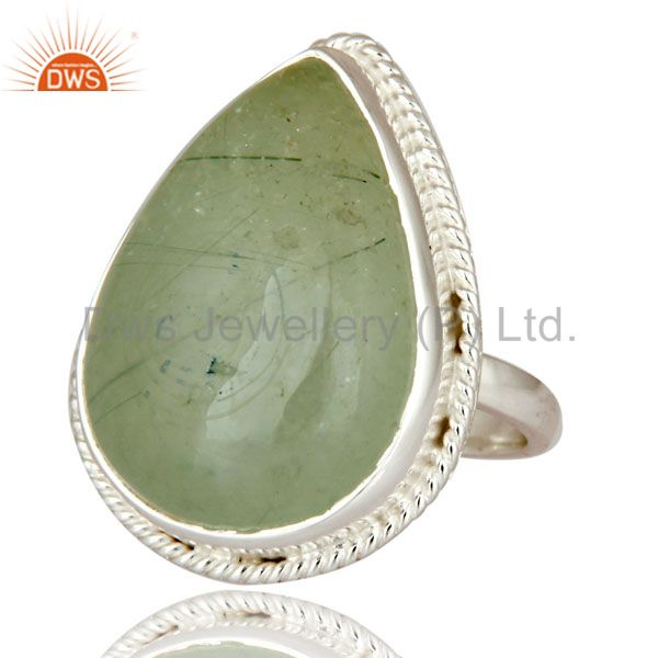 Exporter Handmade 925 Sterling Silver Designer Ring With Natural Prehnite Gemstone
