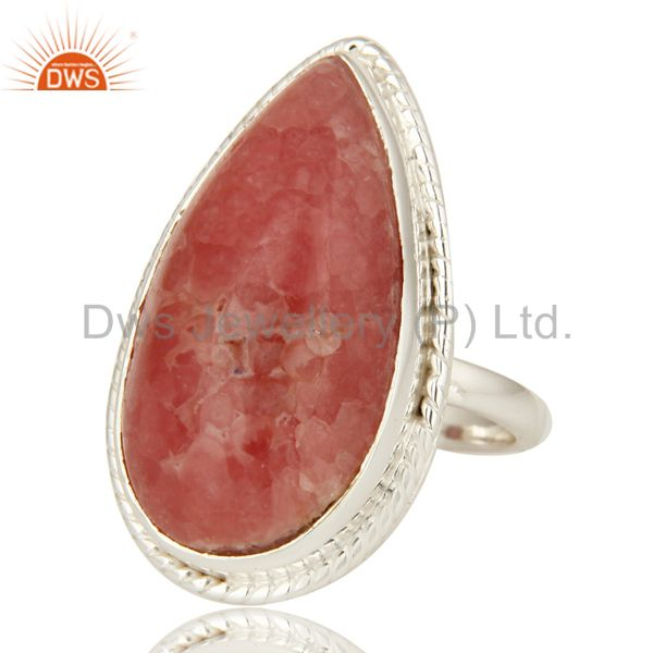 Exporter Natural Rhodochrosite Gemstone Statement Ring In Sterling Silver