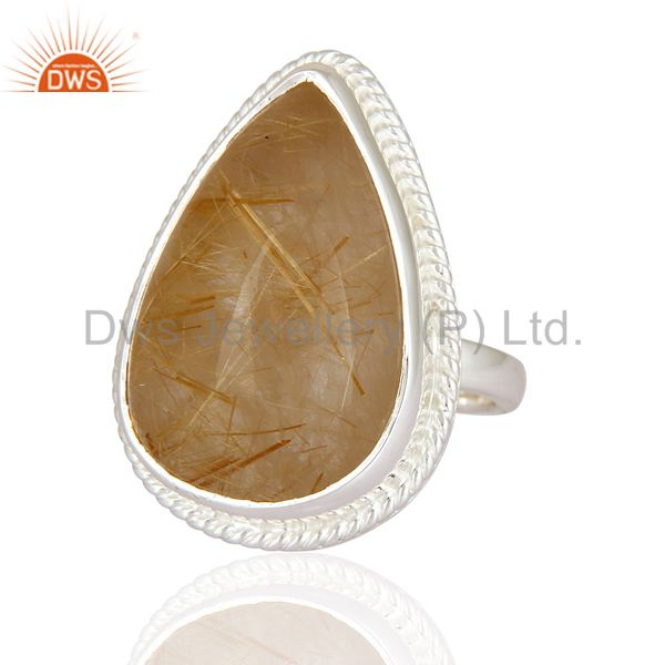 Exporter Genuine Golden Rutilated Quartz Gemstone Ring Handcrafted In 925 Sterling Silver