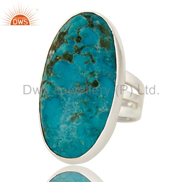 Exporter 925 Sterling Silver Natural Turquoise Gemstone Oval Statement Ring