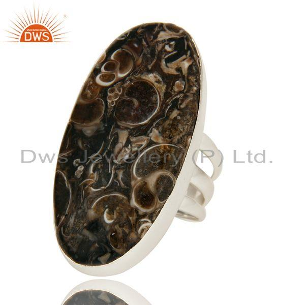 Exporter Handmade Sterling Silver Natural Turritella Agate Gemstone Statement Ring
