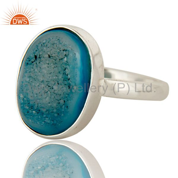 Exporter Natural Druzy Agate Oval Shape Genuine Sterling Silver Ring