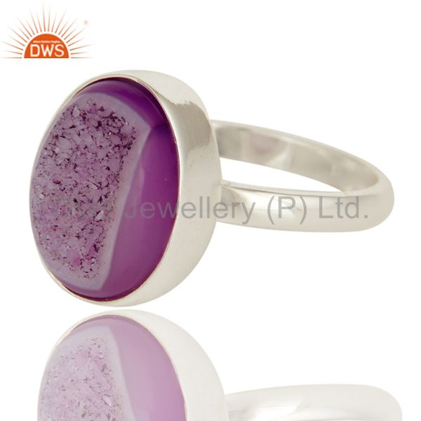 Exporter Pink Druzy Statement Ring Handcrafted In Solid Sterling Silver Jewelry