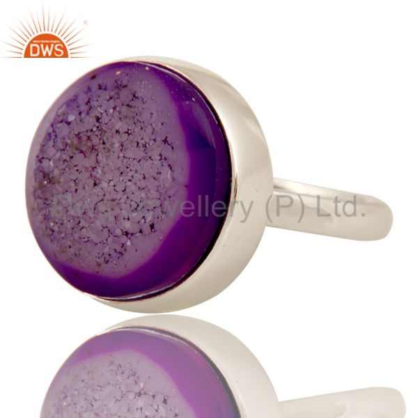 Exporter Handmade Natural Purple Druzy Statement Ring Jewellery With 925 Sterling Silver