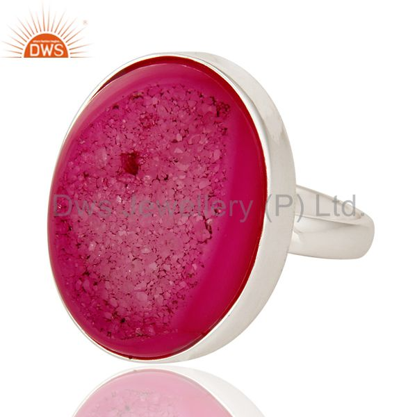 Exporter Pink Drusy Agate Solid 925 Sterling Silver Cocktail Statement Ring