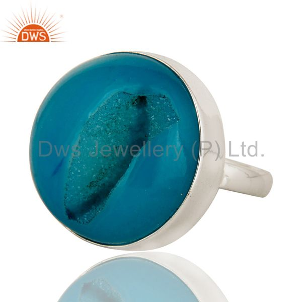 Exporter Round Blue Agate Druzy Cocktail Ring In Solid Sterling Silver