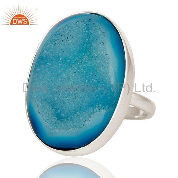 Exporter Blue Agate Druzy Statement Ring Handmade Solid Streling Silver Jewelry