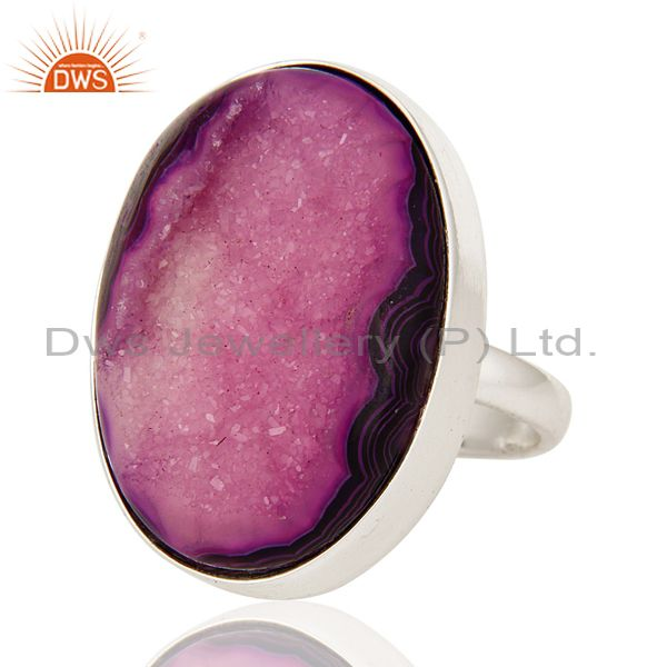 Exporter Purple Drusy Agate Oval Solid Sterling Silver Bezel-Setting Ring