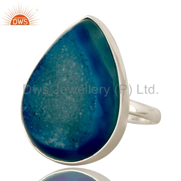 Exporter Genuine 925 Sterling Silver with Blue Drusy Agate Statement Ring