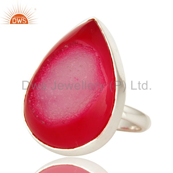 Exporter 925 Solid Sterling Silver Natural Pink Druzy Agate Bezel Set Cocktail Ring