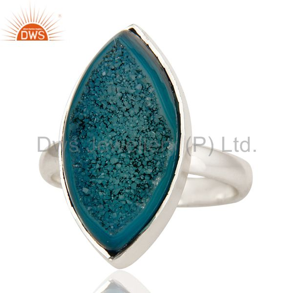 Exporter Handmade Blue Druzy Agate Statement Ring Made In Solid Sterling Silver