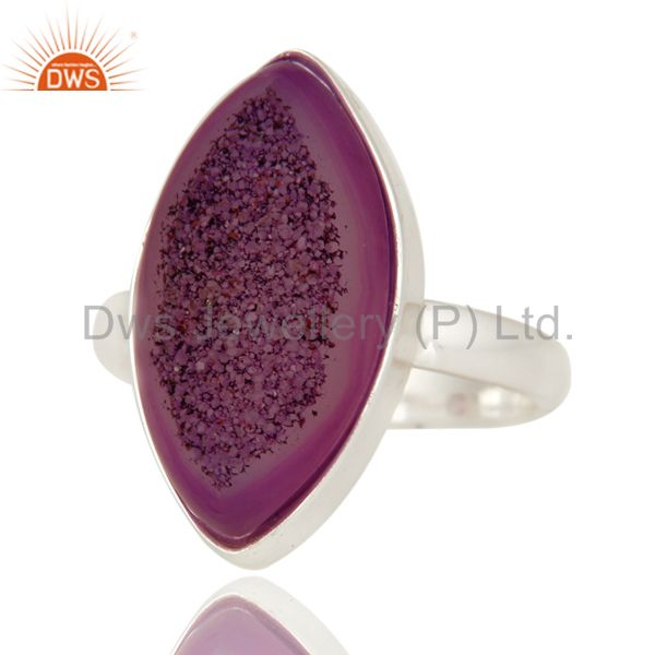 Exporter Handmade Solid Sterling Silver Bezel-Set Ring With Purple Druzy Agate