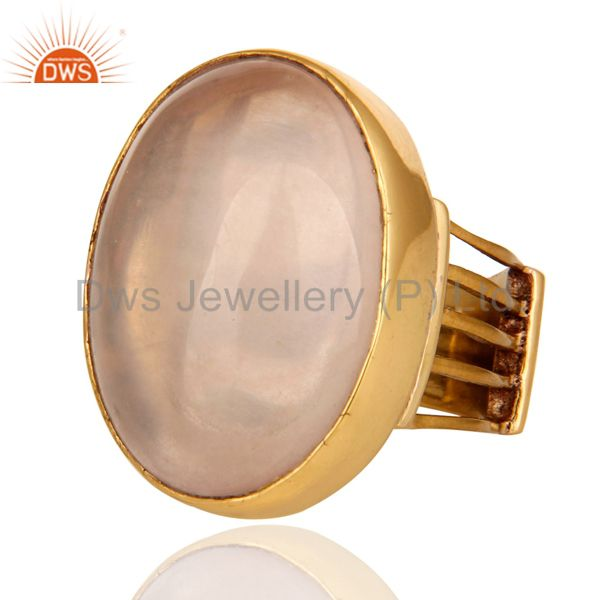 Exporter Natural Rose Quartz Gemstone Designer Ring In Yellow Gold Over Brass