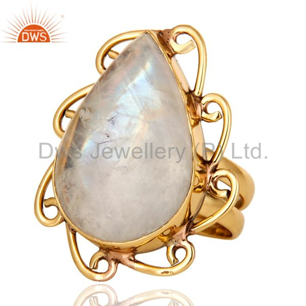 Exporter Handmade Natural Rainbow Moonstone Ring - Yellow Gold Plated