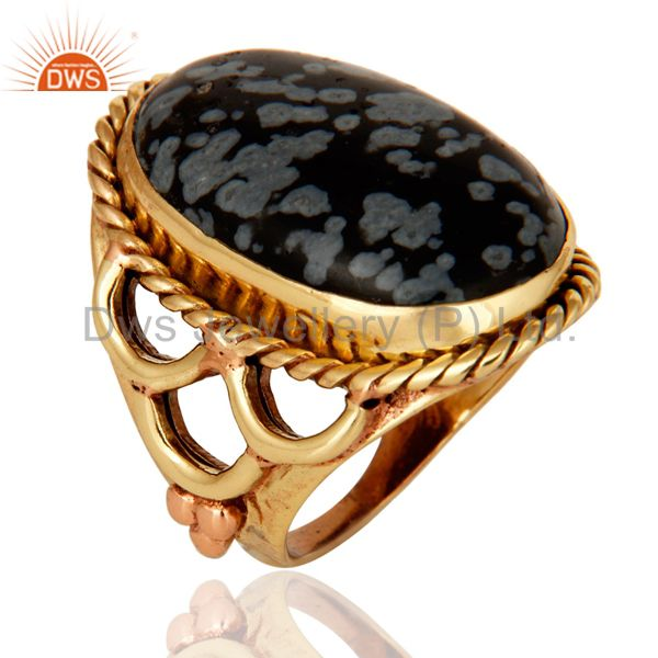 Exporter Natural Snowflake Obsidian Ring Made In 18K Gold Over Brass Jewelry