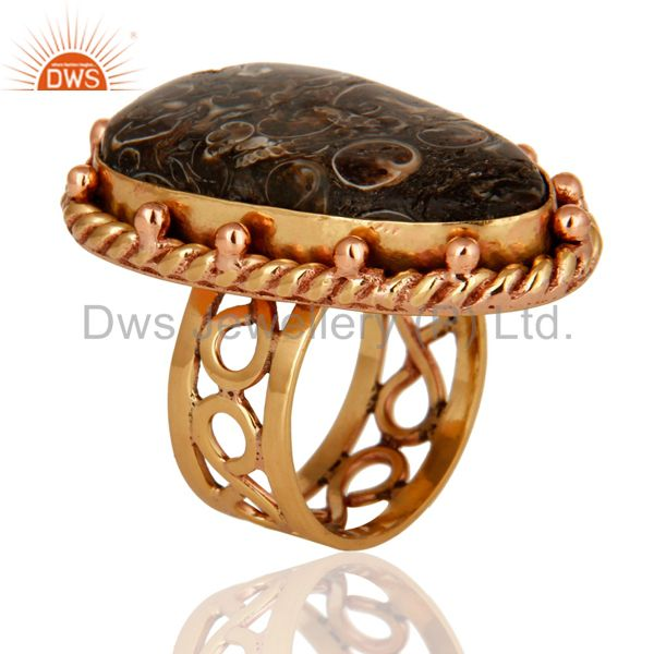 Exporter Handmade Copper Natural Turritella Agate Gemstone Designer Ring