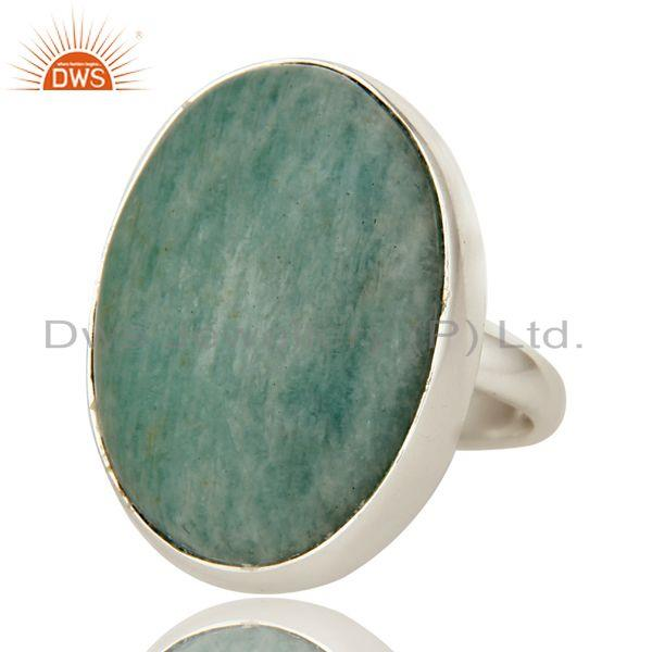 Exporter Natural Amazonite Gemstone Sterling Silver Bezel Set Statement Ring