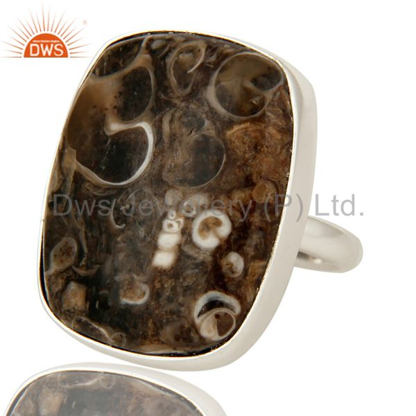 Exporter Natural Turritella Agate Gemstone Sterling Silver Statement Ring