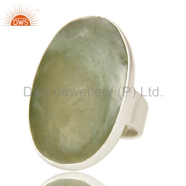 Exporter Genuine 925 Sterling Silver Bezel Set Lizardite Gemstone Statement Ring