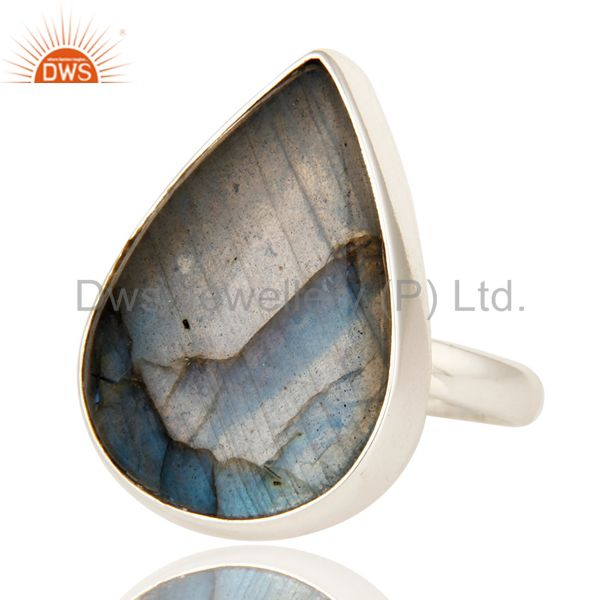 Exporter Handmade Sterling Silver Natural Labradorite Gemstone Bezel Set Ring