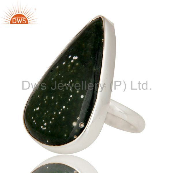 Exporter Handmade Sterling Silver Ocean Jasper Gemstone Bezel Set Statement Ring
