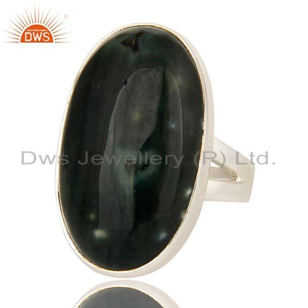Exporter Natural Ocean Jasper Gemstone Bezel Set Statement Ring In Sterling Silver