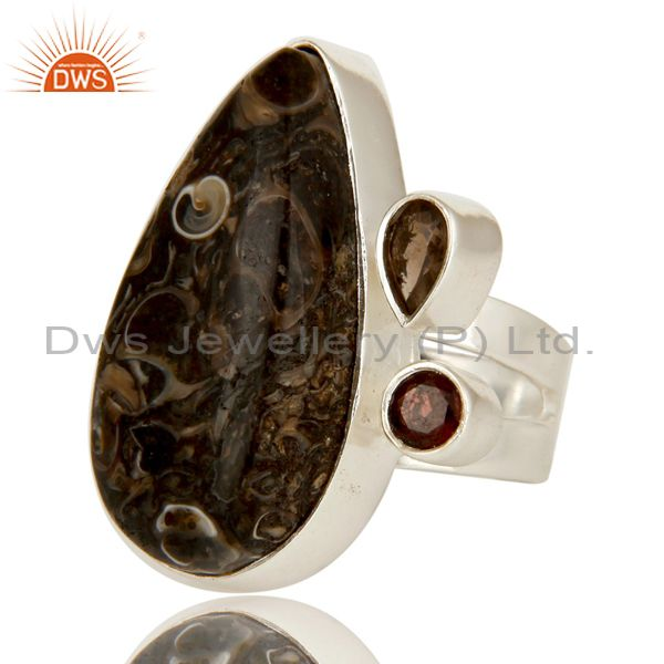 Exporter Handmade Solid Sterling Silver Smoky Quartz And Turritella Agate Statement Ring