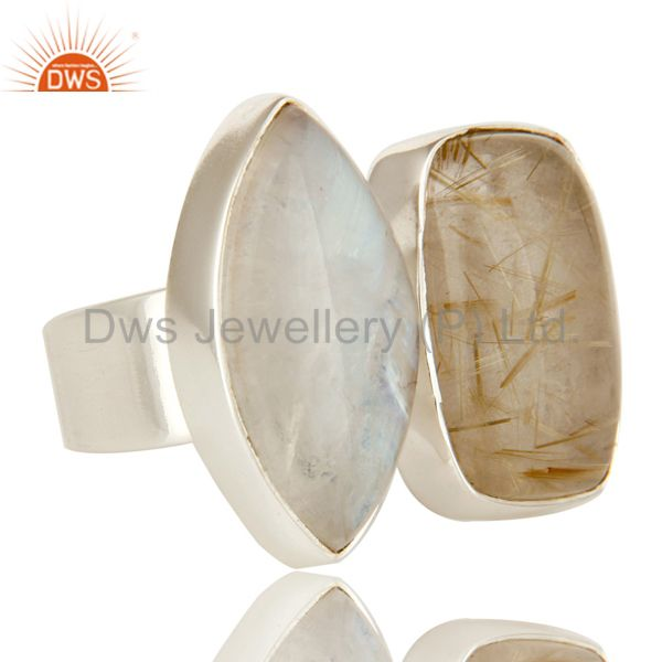 Exporter Handmade Sterling Silver Rutilated Quartz And Rainbow Moonstone Statement Ring