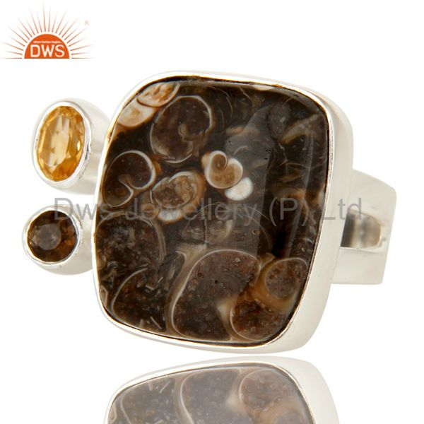 Exporter Citrine, Smoky Quartz And Turritella Agate Cocktail Ring In Sterling Silver