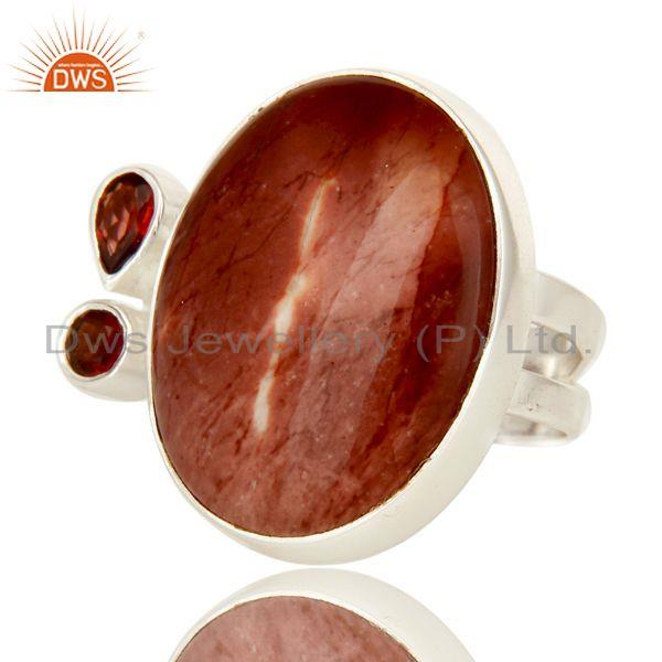 Exporter Handmade Solid Sterling Silver Mookaite And Garnet Gemstone Statement Ring