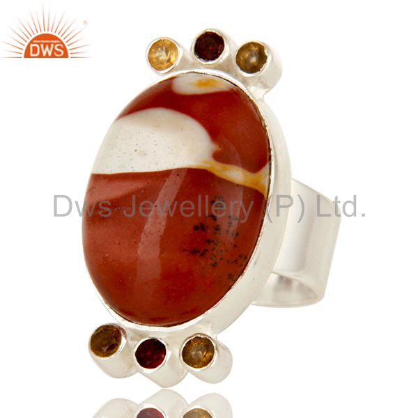 Exporter Handmade Sterling Silver Citrine, Garnet And Mookaite Gemstone Statement Ring