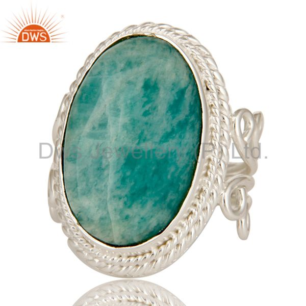 Exporter Handmade Sterling Silver Natural Amazonite Gemstone Designer Statement Ring