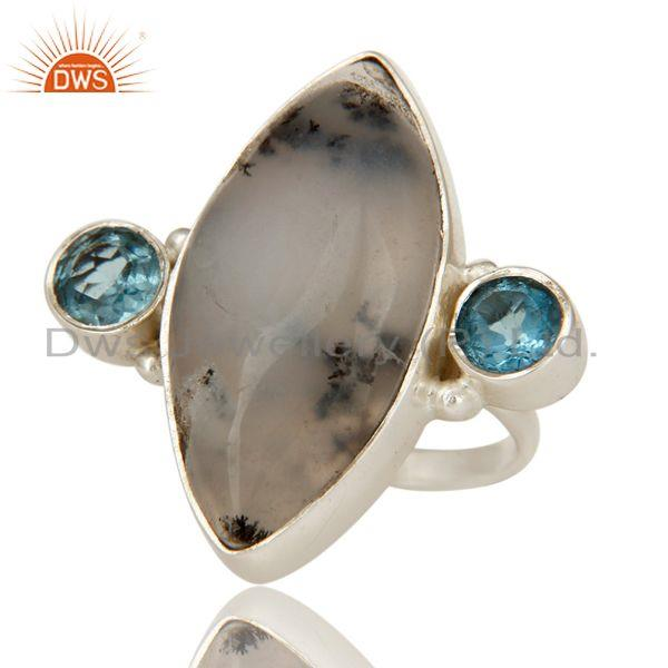 Exporter Handmade Solid Sterling Silver Dendritic Opal And Blue Topaz Designer Ring