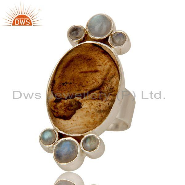 Exporter Handmade Sterling Silver Picture Jasper And Rainbow Moonstone Statement Ring