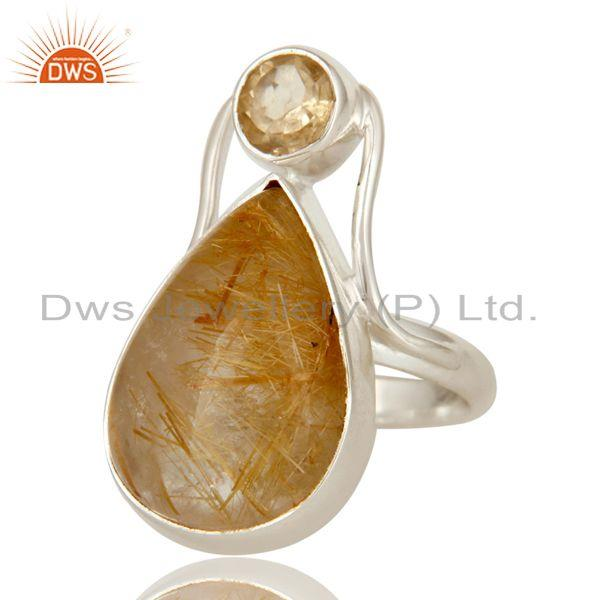 Exporter Handmade Sterling Silver Citrine And Rutilated Quartz Bezel Set Statement Ring