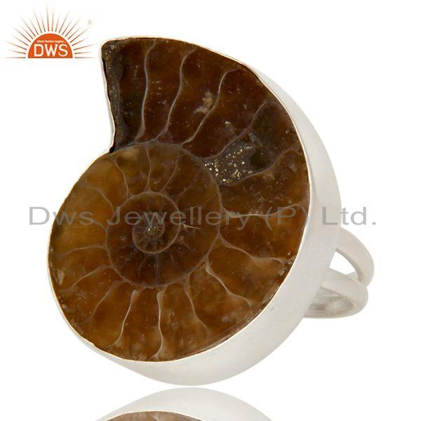 Exporter Handmade Sterling Silver Ammonite Gemstone Split Shank Cocktail Ring