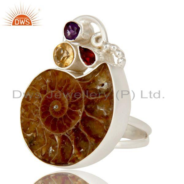 Exporter 925 Sterling Silver Garnet, Citrine, Amethyst And Ammonite Cocktail Ring